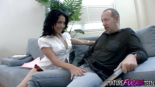 Andrea Kelly Gets Her Hairy Teen Pussy Stretched by a Big Old Cock