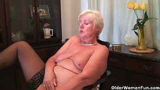 64 year old plus British granny Sandie rubs say no to old pussy