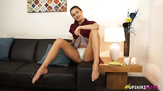 Lubricious housewife Laura performs say no to nice small-clothes upskirt