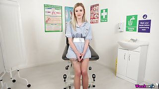Naughty nurse with regard to stockings Gracie is heated say no to mouth-watering pussy