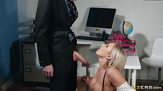 Blonde MILF whore Lilli Vanilli drains a huge firm dick and balls dry