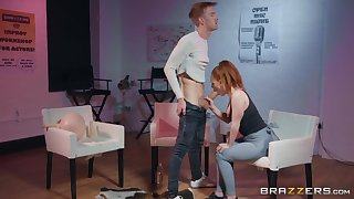 The man hot redhead takes a huge horseshit in torn yoga pants