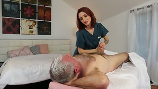 Mouth-watering white-hot haired masseuse Lola Fae gets intimate with venerable consumer