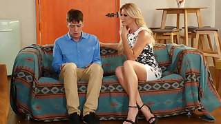 Shy guy seduced hard by friend's MILF mommy
