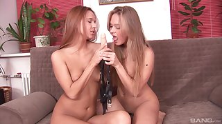 Lesbian pussy shellacking and strap mainly lovemaking with Sofie and Willa