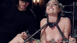 Gagged blue-eyed hair babe waiting upon hanged by ropes