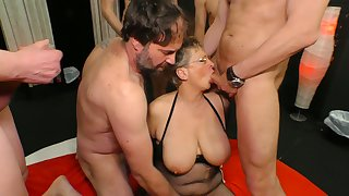 Big tittied cougar Grow is fucked by yoke young and insatiable dudes