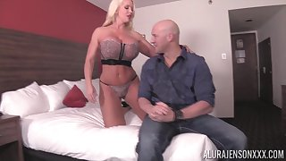Blonde chick Alura Jenson fucks with a neighbor while her tits bounce
