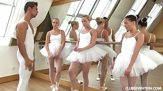 one youthfull lil' ballerinas share manmeat of teacher after exercise