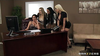 Four Hot big-boob berth sluts fuck boss' big-dick upon berth