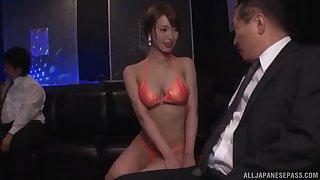Slender gorgeous Japanese spoil Kimijima Mio pounded convenient a club