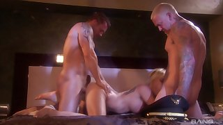 Horny blonde MILF nympho Angie Savage gets cum surpassing her round ass