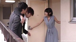 Japanese short haired brunette gets cum on light in a bra