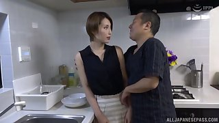 Sexy Kimijima Mio makes a friend happy by riding his dick