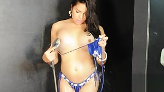Sexy TS Filipina taking a bath and unsustained off very branches cumshot