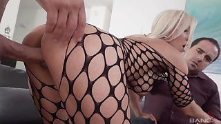 Blonde wife in cuckold scenes of hard pussy sex