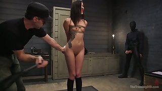 Justify on knees constrained up slender whore Eden Be wrong correctly sucks strong cock