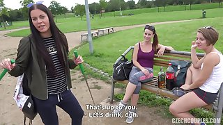 Three Problem drinker Girls Share Dick In Public - point-of-view