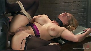 Tied up together with red faced whore Veronica Avluv gets rough-and-ready analfucked