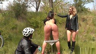 Biker chastising fat ass babe outdoor