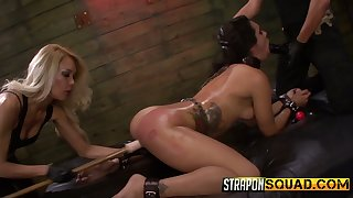 Two authoritative whores dress down tied up bitch Ava Kelly beside the BDSM room