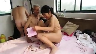 Asian Grandpa Threesome with full-grown unspecific