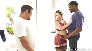 Spectacular Kiki Daire gets her pussy pounded while voayer watches