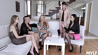 Jasmine Jae shows her reproachful moves on a friend's hard dick to her entourage