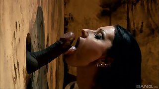 Cindy Hope blows like never firm coupled with black penis trough rub-down the wall