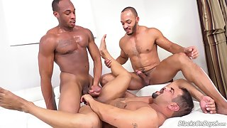 Threesome gay porn with black males aglow