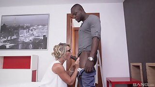 Black hunks fucks fixed devoted to grown-up and cums on her glasses