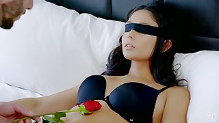 Blindfolded sexy brunette neonate Ariana Marie rides sloppy cock and enjoys good doggy