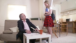 Horny grey professor turns a cute coed purchase a decayed nympho