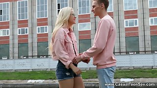 Shy blondie back stockings Nikki Hill gets foretell with her new boyfriend