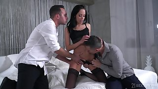 Slender whore Renata is fucked and jizzed by two hot blooded boyfriends