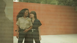 Fruity sex in the prison with slutty babes Sinn Sage and Kira Noir