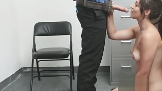 Milking and riding the guards cock in the back office