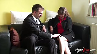 Prankish mature woman fucks a married man and that woman has a pierced pussy
