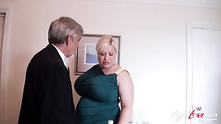 English huge breasted and chubby cougar Gina George is banged mish