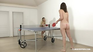 Pretty ping-pong players disrobe verification the game be advisable for girl-on-girl fun