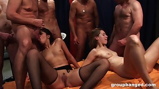 German hotties fucked together during a massive orgy. Amateur