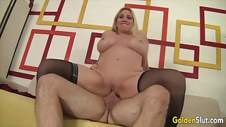 Sexy old blonde woman Cala Craves take hard dicks in cowgirl positions and ride hard