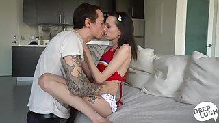 Anorexic teen Aria Haze enjoys a huge thick phallus of tattooed fellow Owen Gray