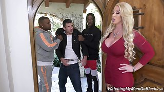 Successful bottomed white MILF Alura Jenson is hammered doggy by black hunk