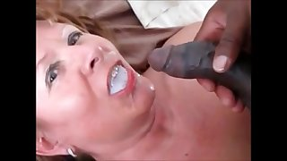 Grandma fucked doggystyle by bbc drink his cum
