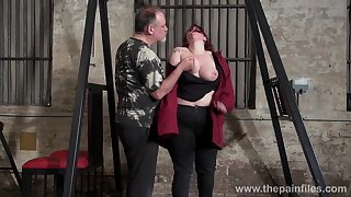 Obese red haired inclusive Emma gets punished in the BDSM room