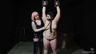 Chubby dyke's painful and pleasurable Lezdom session surrounding a curvy Domme