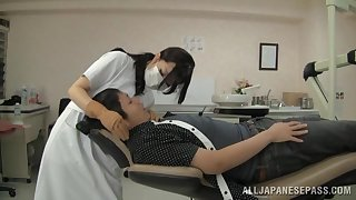 Sexy Japanese dentist gives will not hear of pussy to will not hear of handsome patient