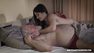 Young wifey Emily Brix is craving for sexual congress in the matter of old husband early in the morning