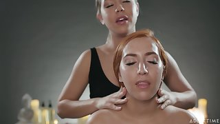 Oiled Alina Lopez gets a nice back massage and enjoys having lesbo coitus